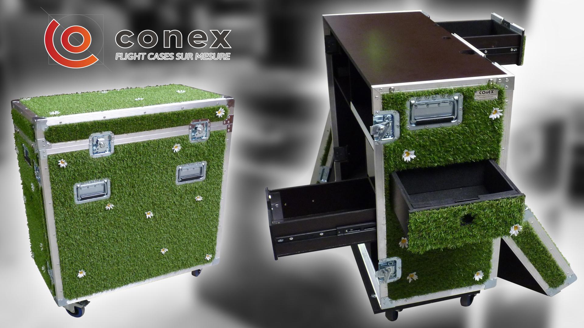 flight case décor herbe pour dj