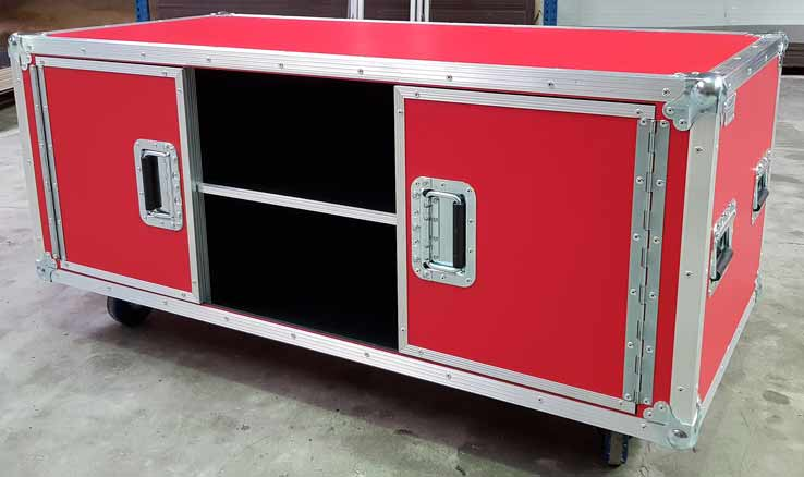Flight case meuble de tv rouge avec rangement